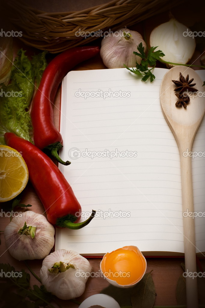 Notebook for culinary recipes and Meal Ideas with Space for Text — Stock Photo #9512289
