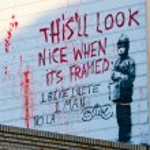 Banksy's graffiti — 图库照片