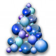 Colorful blue christmas tree with shade — Stock Photo