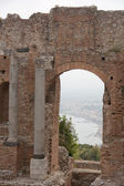 View through ancient window in Taormina amphitheater — Stock Photo