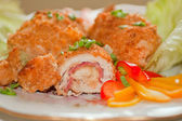 Cordon bleu with vegetables garnish — Stock Photo