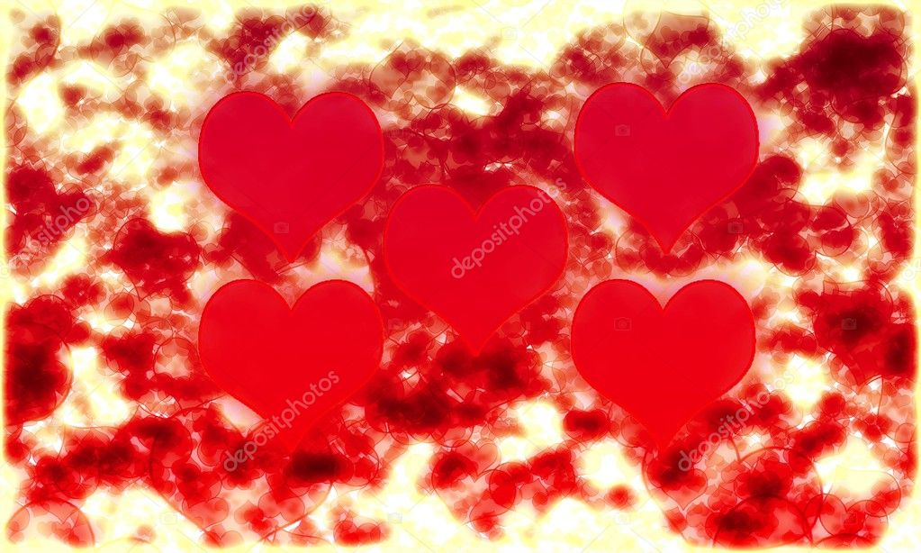 Five hearts background — Stock Vector #8348508