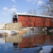 Covered Bridge with Snow — Stock Photo