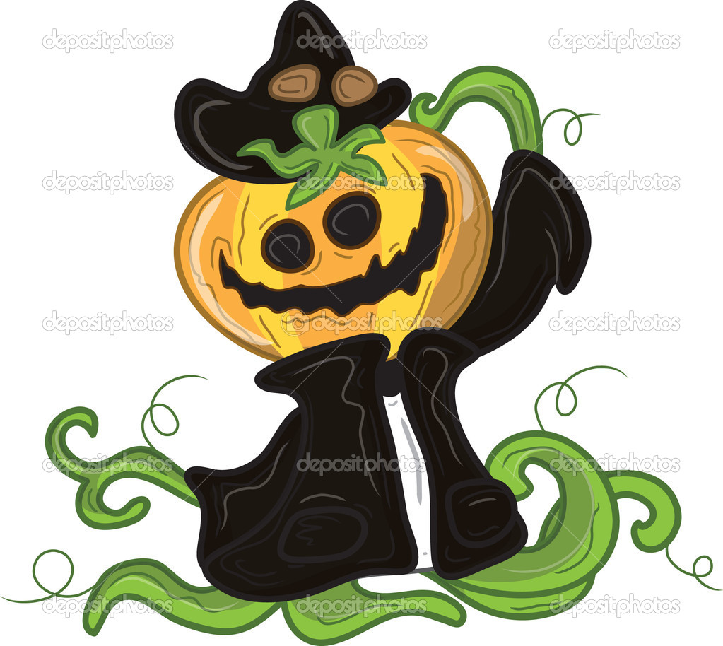Cartoon of pumpkin jackolantern monster. — Stock Vector #9520574