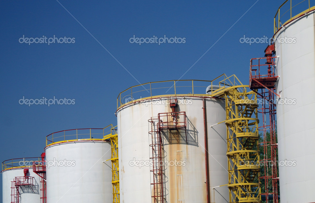 	Big chemical tank petrol container oil industry  Stock Photo #10589901