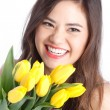 Young Woman with Tulips — Stock Photo #10392774