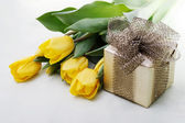 Tulips with Giftbox — Stock Photo