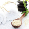 Spa Salt in Spoon and Spa Stones — Stock Photo