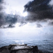 Rain and thunderstorm in the ocean — Stock Photo