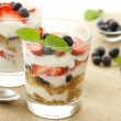 Stock Photo: Vanilla yogurt with berries