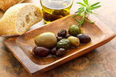 Olives with bread — Stock Photo
