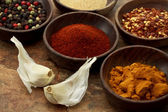Spices in wooden bowls — Foto de Stock