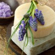 Handmade soap and grape hyacinth — Stock Photo