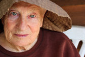 Portrait of senior woman in hat — Foto de Stock