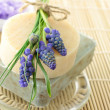 Handmade soap and grape hyacinth — Stock Photo #8312118