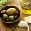 Mixed olives with garlic — Stockfoto