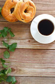 Coffee with bagels — Stock Photo