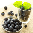 Stock Photo: Blueberries in glass containers