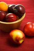 Juicy nectarines, plums and apricot — Stock Photo