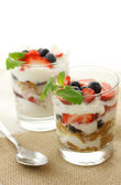 Vanilla yogurt with berries — Stock Photo