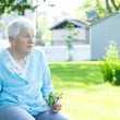 Senior lady relaxing outside — Foto Stock