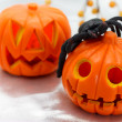 Stock Photo: Jack O' Lanterns with black spider