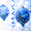 Christmas blue ornaments — Stock Photo