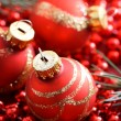 Red Christmas ornaments — Stockfoto #8554862