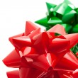 Stock Photo: Red and green gift bows