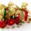 Red and green Christmas gifts — Stockfoto
