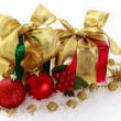 Stock Photo: Red and green Christmas gifts