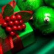 Christmas green gift box — Stock Photo #8555093