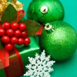 Christmas green gift box — Stock Photo