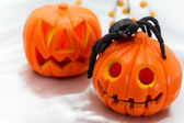 Jack O' Lanterns with black spider — Stock Photo