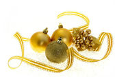Golden Christmas ornaments — Foto Stock