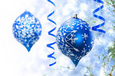Christmas blue ornaments — Stok fotoğraf