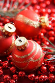 Red Christmas ornaments — Photo