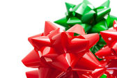 Red and green gift bows — Foto Stock