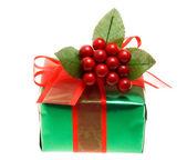 Green Christmas gift box — Stock Photo