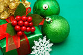 Christmas green gift box — Foto de Stock