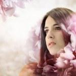 Beautiful Girl in Elegant Flower Background — Stock Photo