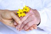 Dames seniors et jeunes, main dans la main — Photo
