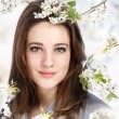 Beautiful Girl with Blooming Tree — Stock fotografie #9963556