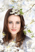 Beautiful Girl with Blooming Tree — Stock Photo