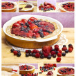 Red fruits tart collage — Stockfoto #10015319
