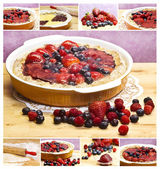 Red fruits tart collage — Stock fotografie