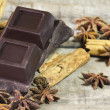 Dark chocolate with cinnamon and star anise spices — ストック写真