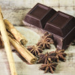 Dark chocolate with spices — Stockfoto