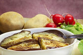 Steamed eggplant dressed with oil, balsamic vinegar, salt and pe — Foto Stock