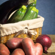 Healthy vegetable in a basket — Stock Photo